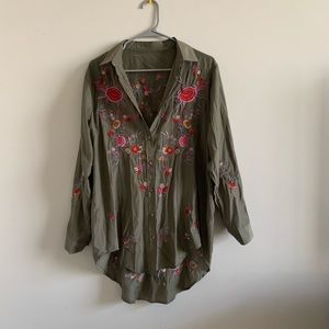 Olive green boho embroidered silk tunic blouse
